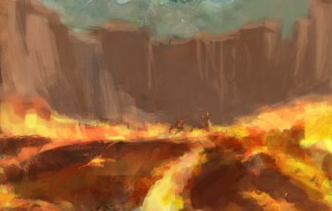 volcano fighting scene with lots of lava copy